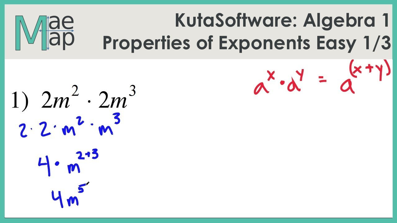 Multiplication Property Of Exponents Worksheets Kutasoftware Algebra 1 Properties Exponents Easy Part 1