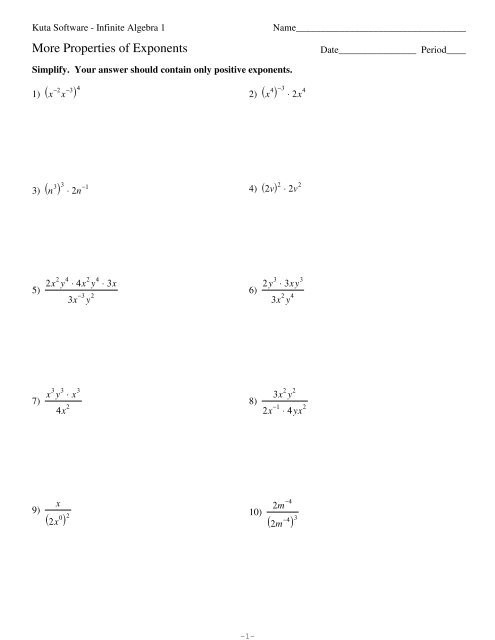Multiplication Property Of Exponents Worksheets Multiplication Property Exponents Worksheet Printables