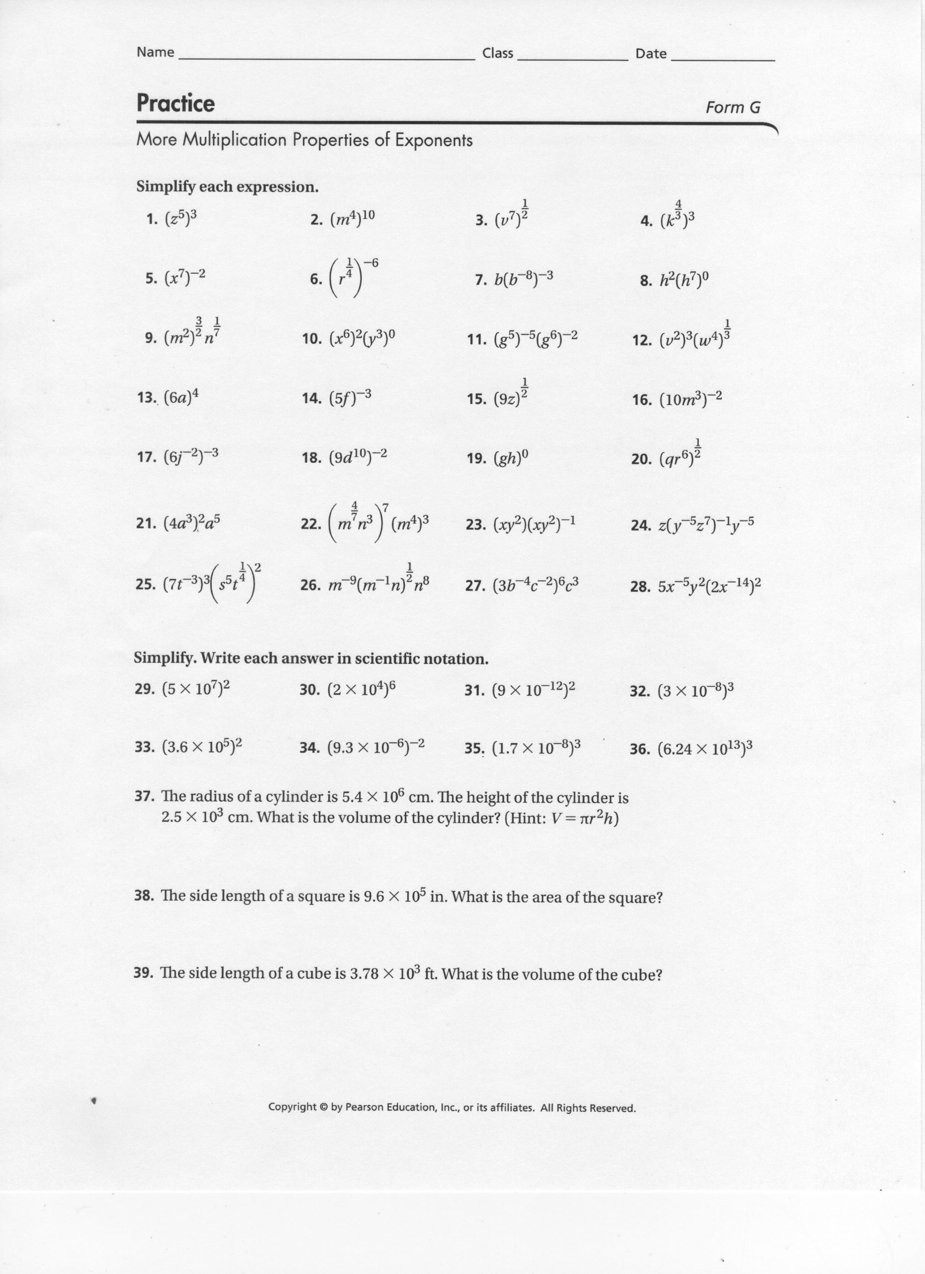 Multiplication Property Of Exponents Worksheets Properties Exponents Worksheet and Answers