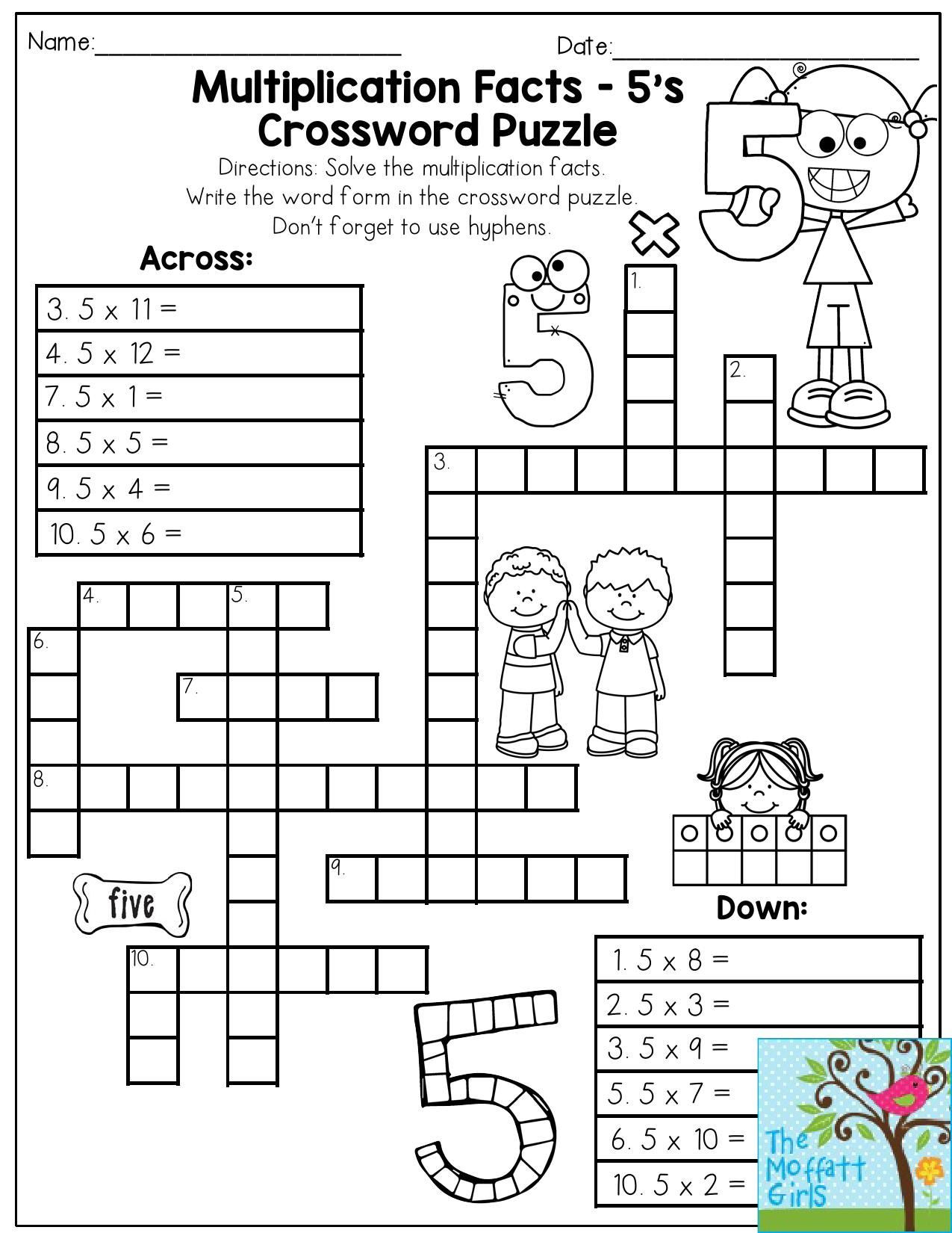 Multiplication Puzzle Worksheets 4th Grade Multiplication Facts Crossword Puzzle Third Grade Students