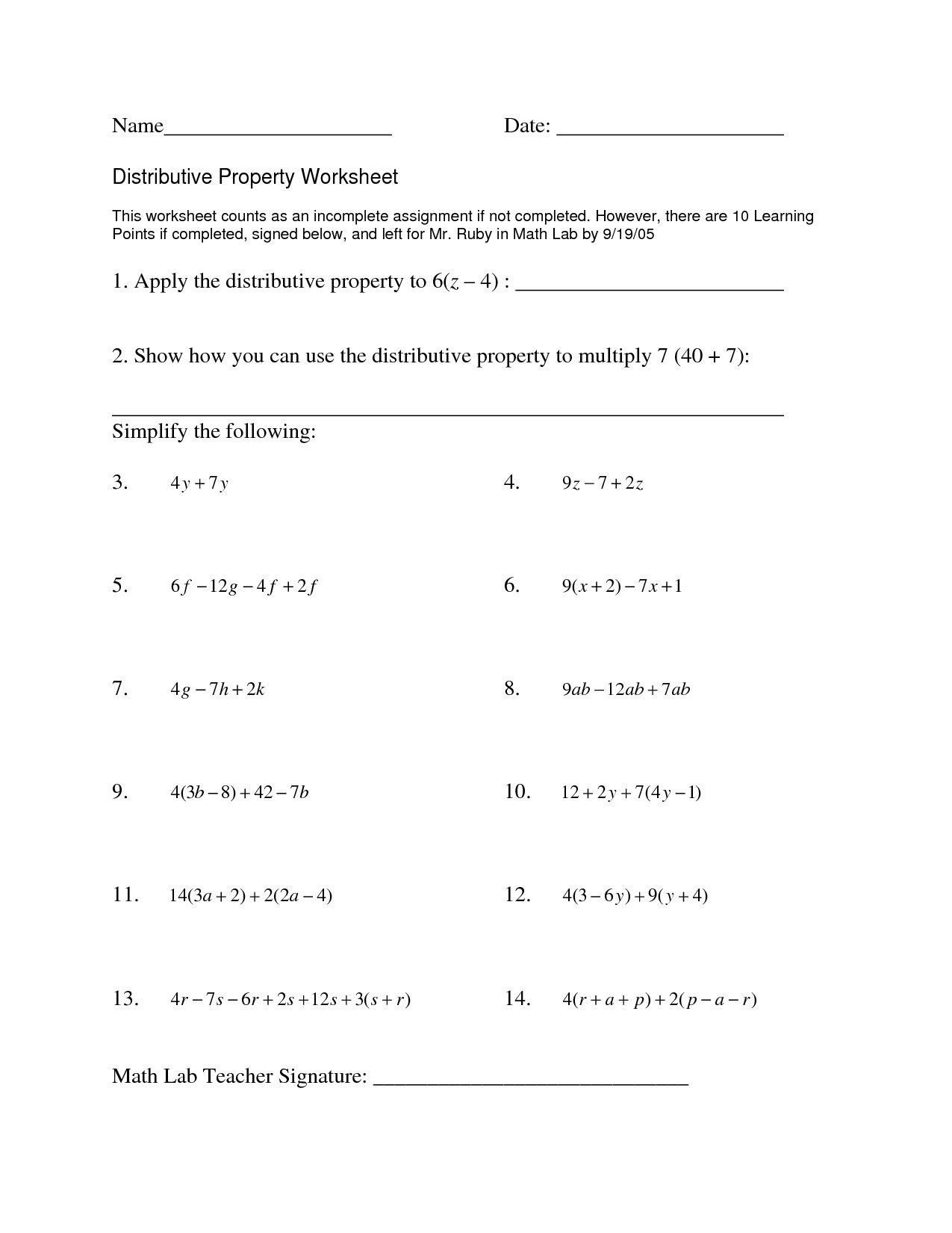 Multiplication Using Distributive Property Worksheets Distributive Property with Variable Worksheet