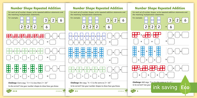 t n 6159 ks1 number shapes repeated addition to support multiplication differentiated activity sheets