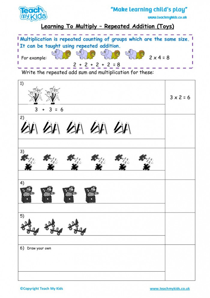 learning to multiply repeated addition mixed tables tmk worksheets 9