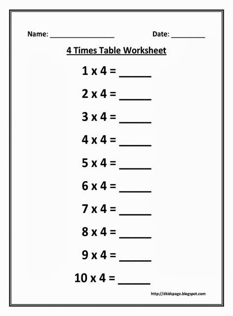 printable 4 x times table worksheets