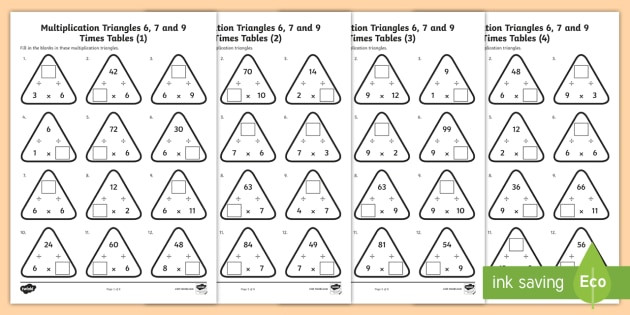 t2 m year 4 multiplication triangles 6 7 and 9 times tables activity sheets