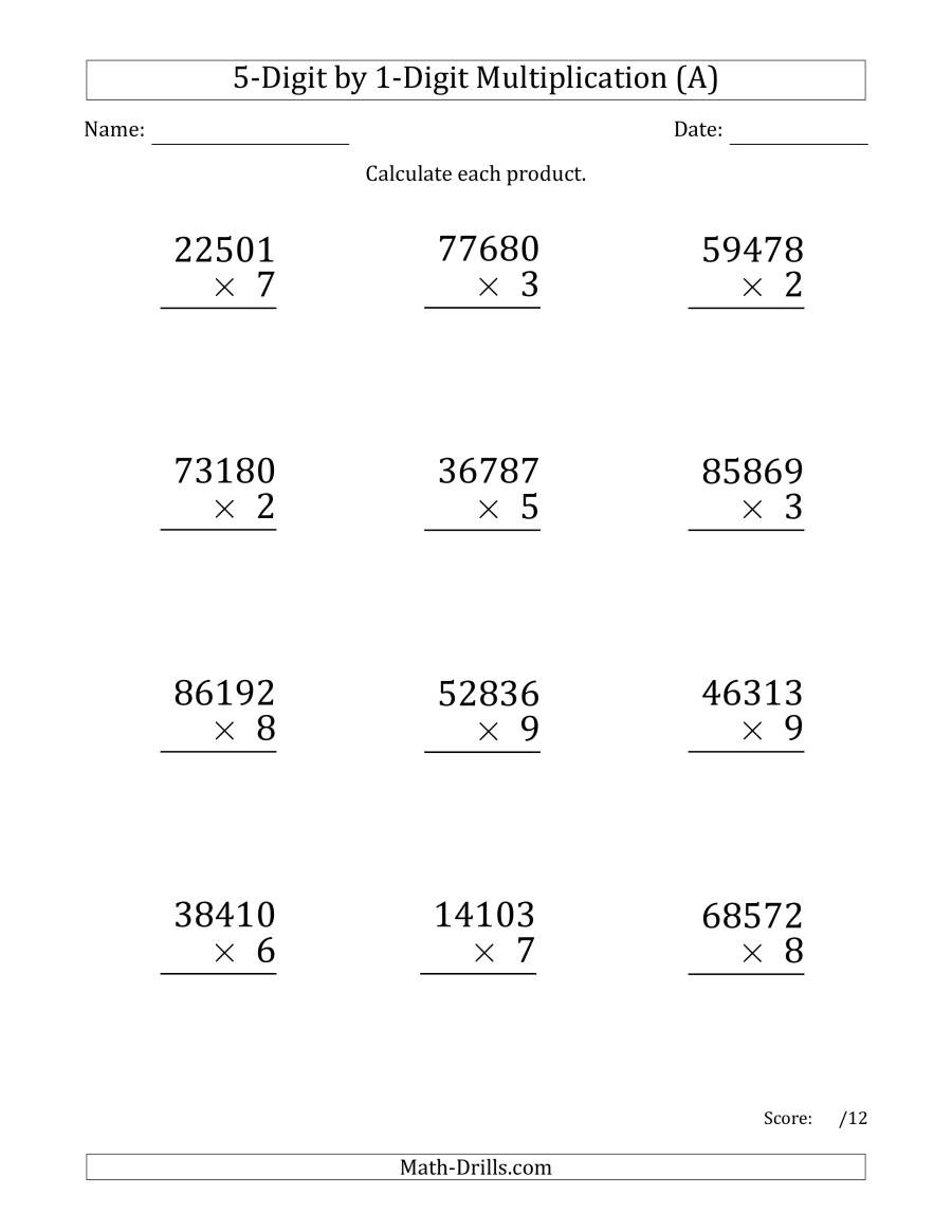 Multiplication Worksheets by Number Multiplying Digit by Numbers Print Multiplication