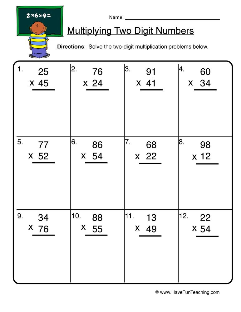 Multiplication Worksheets Double Digit Two Digit Numbers Multiplication Worksheet