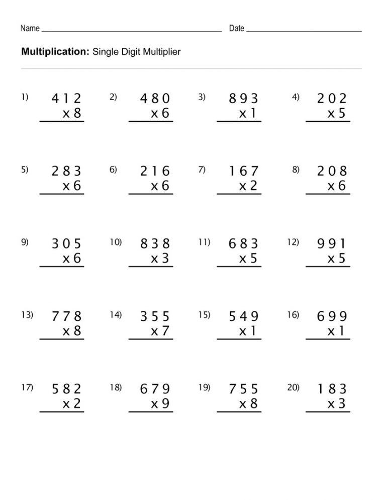 Multiplication Worksheets with Answer Key Coloring Pages 4th Grade Multiplication Worksheets Mathrth