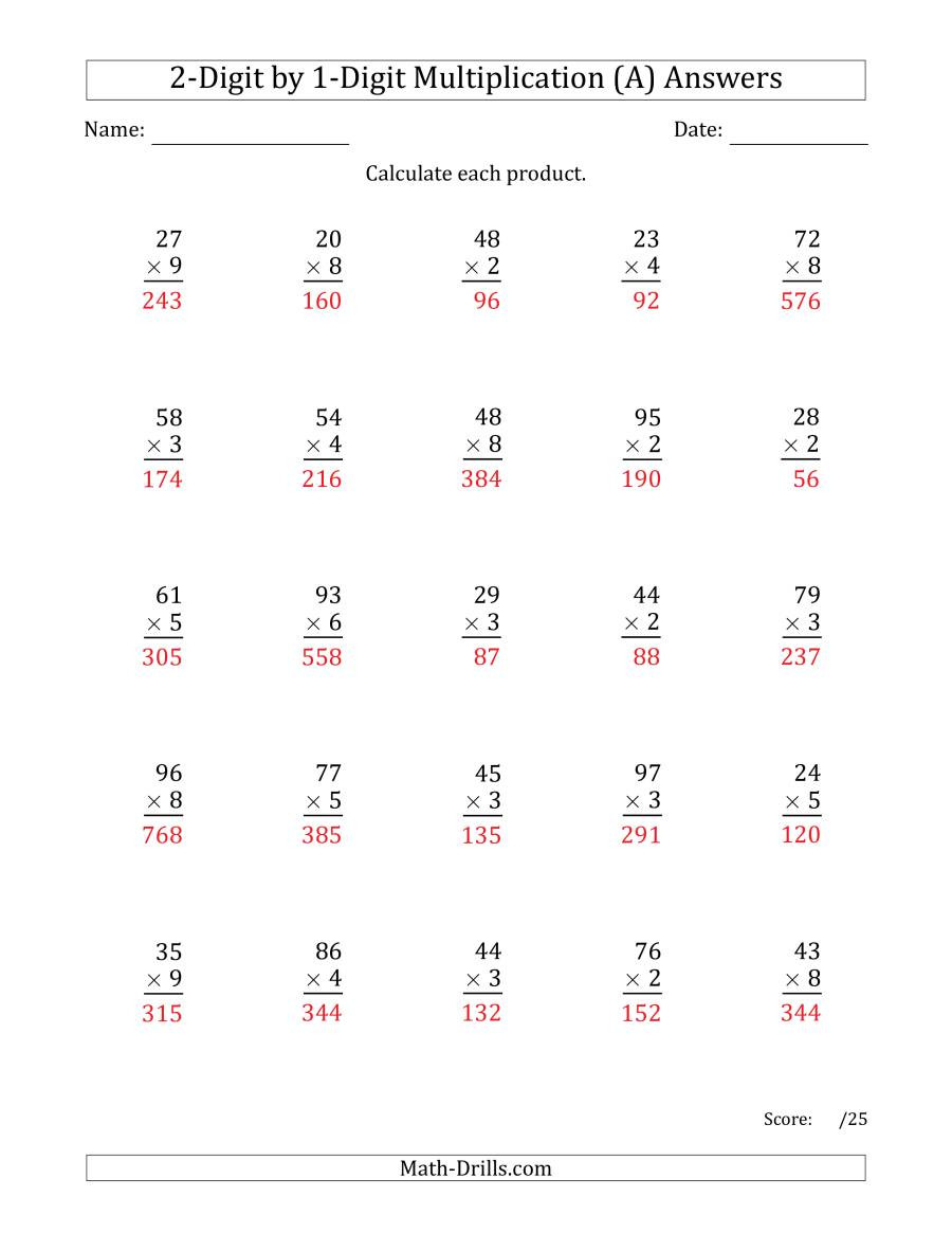 Multiplication Worksheets with Answer Key Multiplying 2 Digit by 1 Digit Numbers A