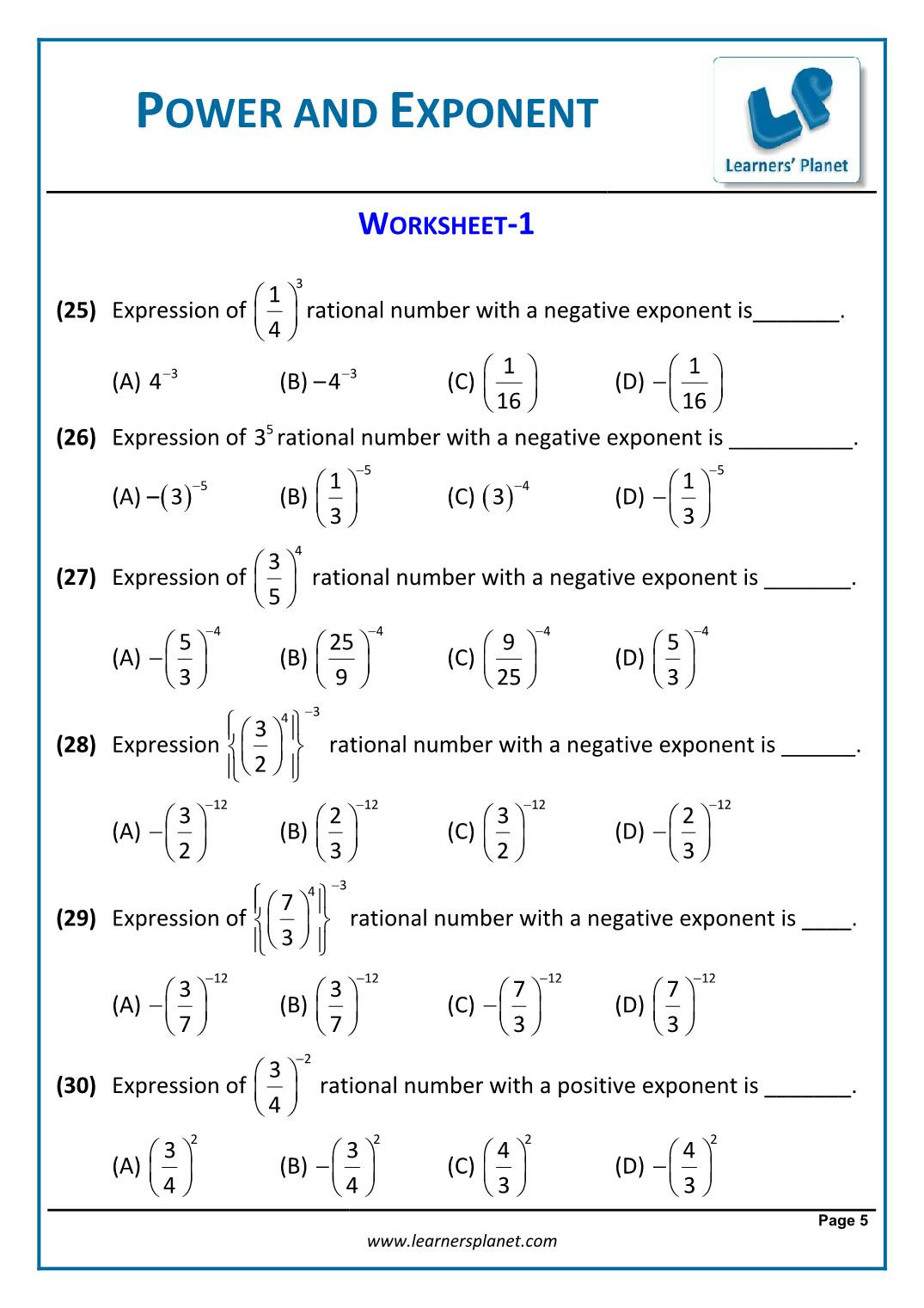 Multiply and Divide Exponents Worksheet 8th Math Cbse Exponents and Powers Worksheets Grade Blank
