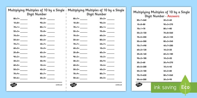 t2 m 1407 multiplying multiples of 10 by 1 digit numbers a5 activity sheet