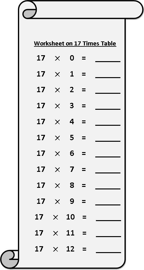 worksheet on 17 times table