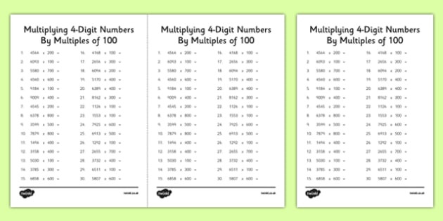 t2 m 1569 multiplying 4 digit numbers by multiples of 100 activity sheets