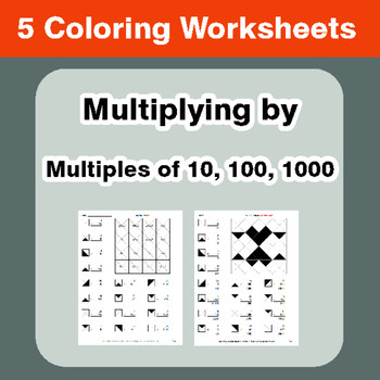Multiplying by 10 100 1000 Coloring Worksheets