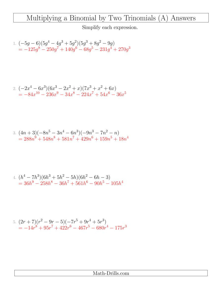 Multiply Two Binomials Worksheet Multiplying A Binomial by Two Trinomials A