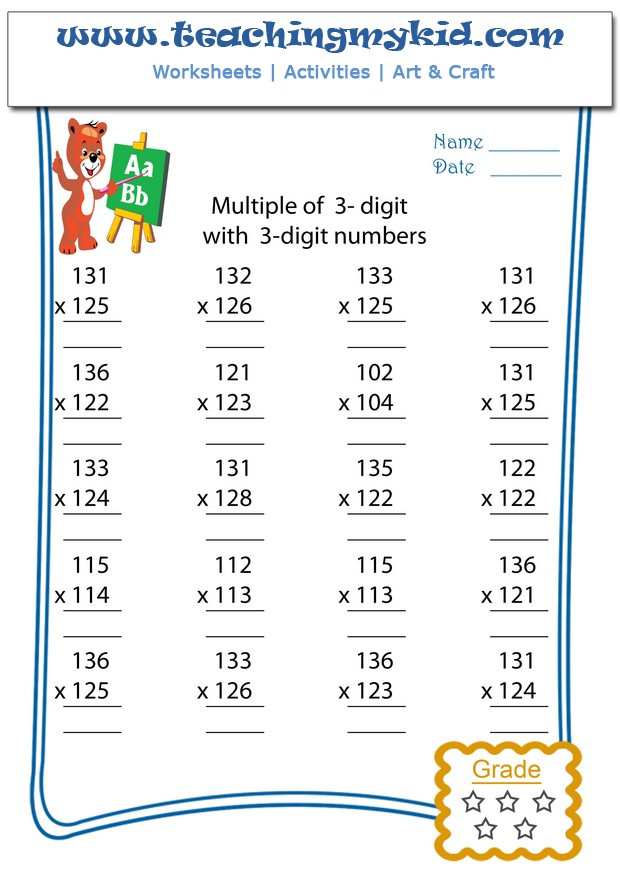 multiply multiple of 3 digits with 3 digit numbers