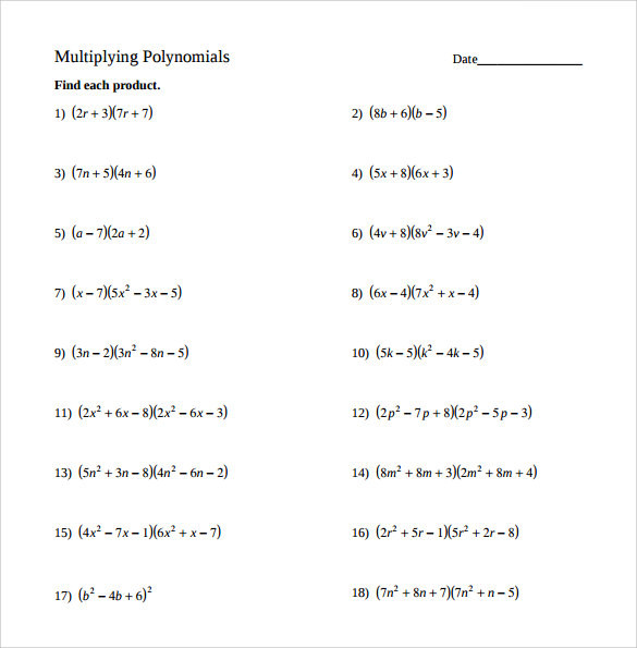 Multiplying Binomials by Trinomials Worksheet Free Sample Algebraic Multiplication Worksheet Templates In