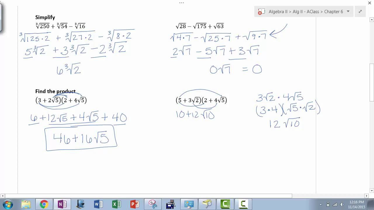 Multiplying Binomials with Radicals Worksheet Algebra Ii 6 3 Binomial Radical Expressions
