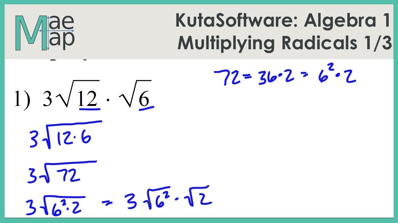 Multiplying Binomials with Radicals Worksheet Kutasoftware Algebra 1 Multiplying Radicals Part 1