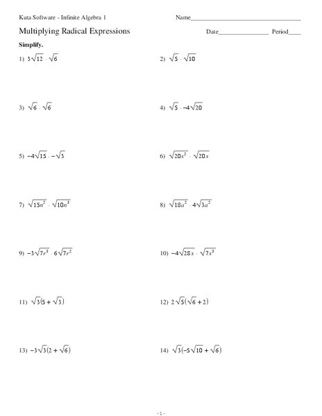 Multiplying Binomials with Radicals Worksheet Multiply Radical Expressions Worksheet Promotiontablecovers