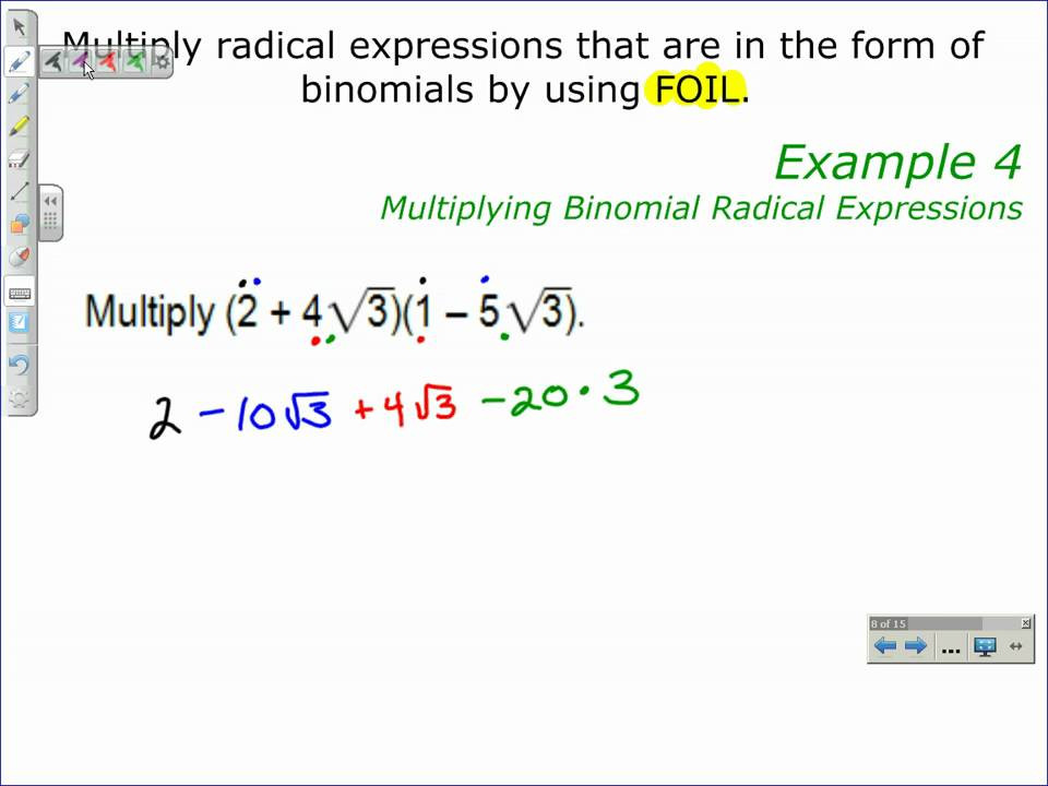 Multiplying Binomials with Radicals Worksheet Multiplying Binomial Radical Expressions