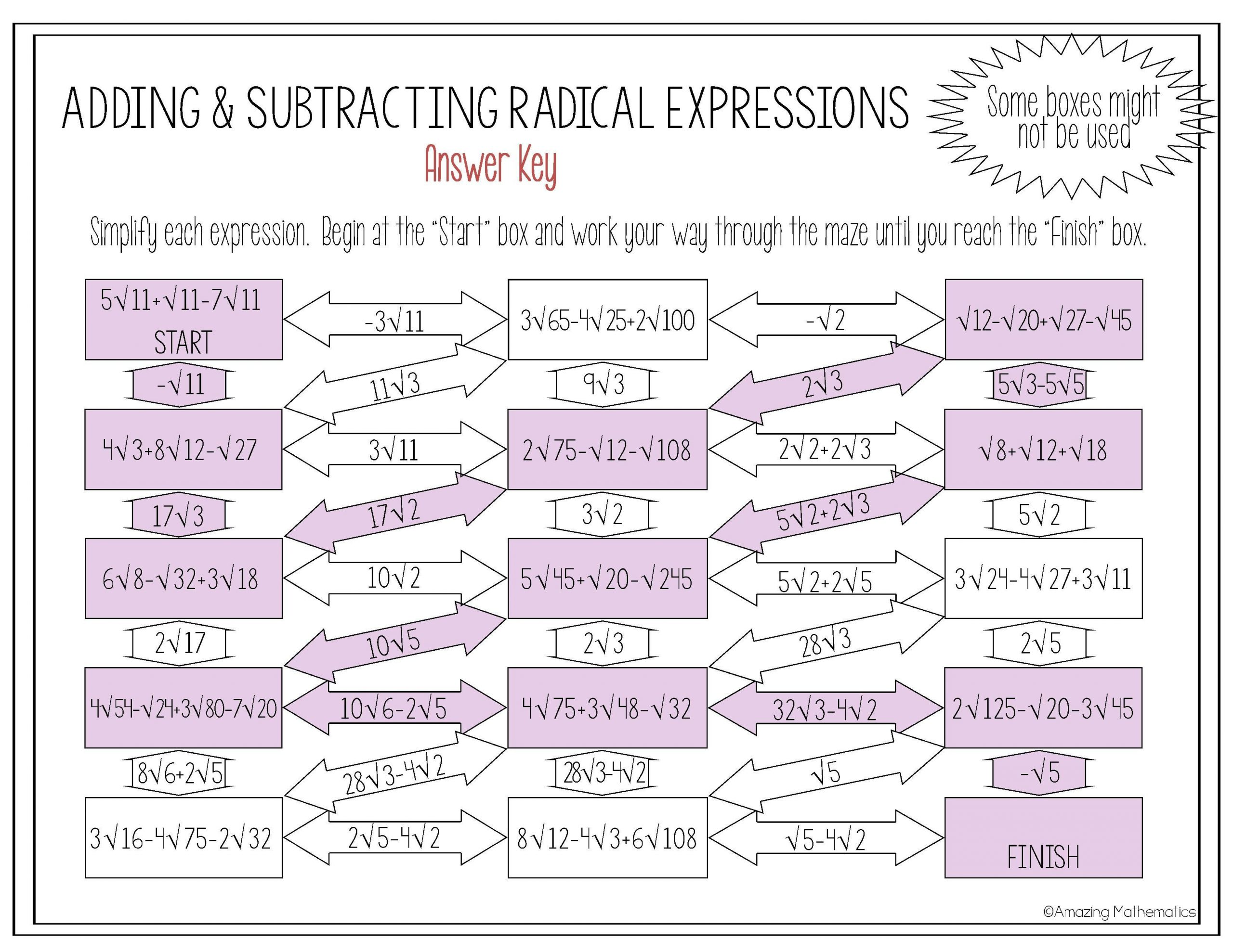 Multiplying Binomials with Radicals Worksheet Operations with Radical Expressions Maze Adding