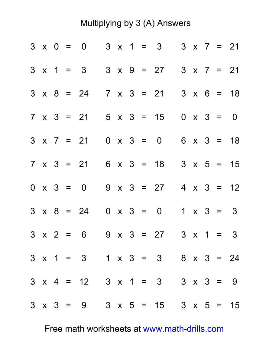 Multiplying by 0 Worksheet 36 Horizontal Multiplication Facts Questions 3 by 0 9 A