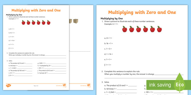 us2 m 374 multiplying by zero and one activity sheet