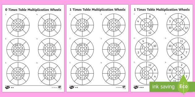 t n 7032 1 and 0 times table multiplication wheels activity sheet