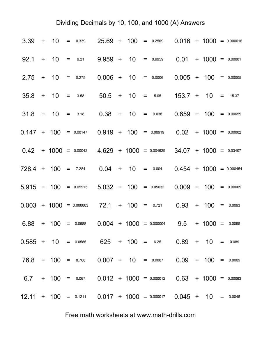 multiplying and dividing by 10 100 and 1000 word problems