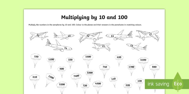 t2 m 2441 multiplying by 10 and 100 activity sheet