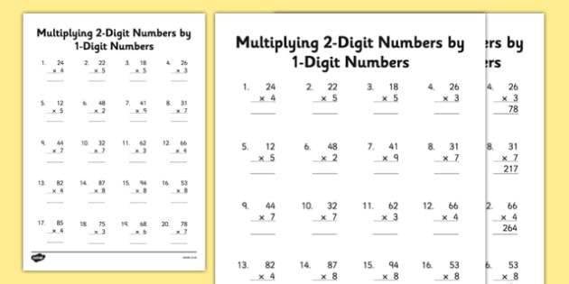 Multiplying by 2 Digits Worksheets 2 Digit by 1 Digit Multiplication Worksheets