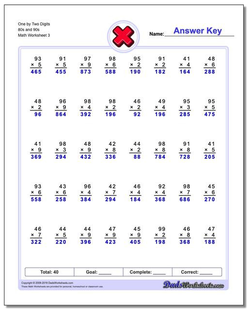 Multiplying by 2 Digits Worksheets Multiple Digit