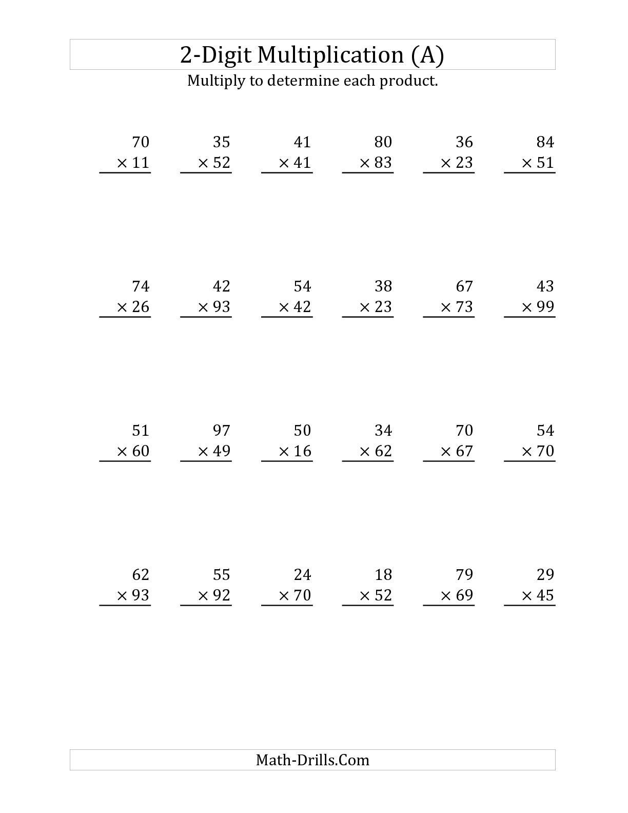 Multiplying by 2 Digits Worksheets Multiplying A 2 Digit Number by A 2 Digit Number A Long