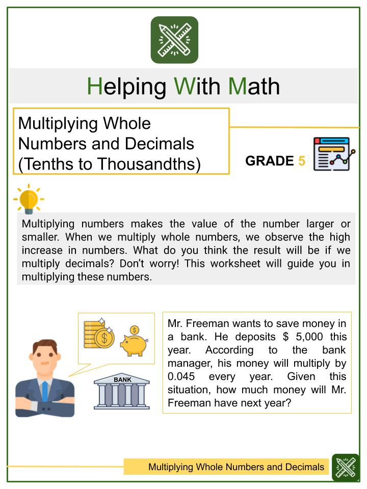 Multiplying by Tens Worksheet Multiplying with Decimals