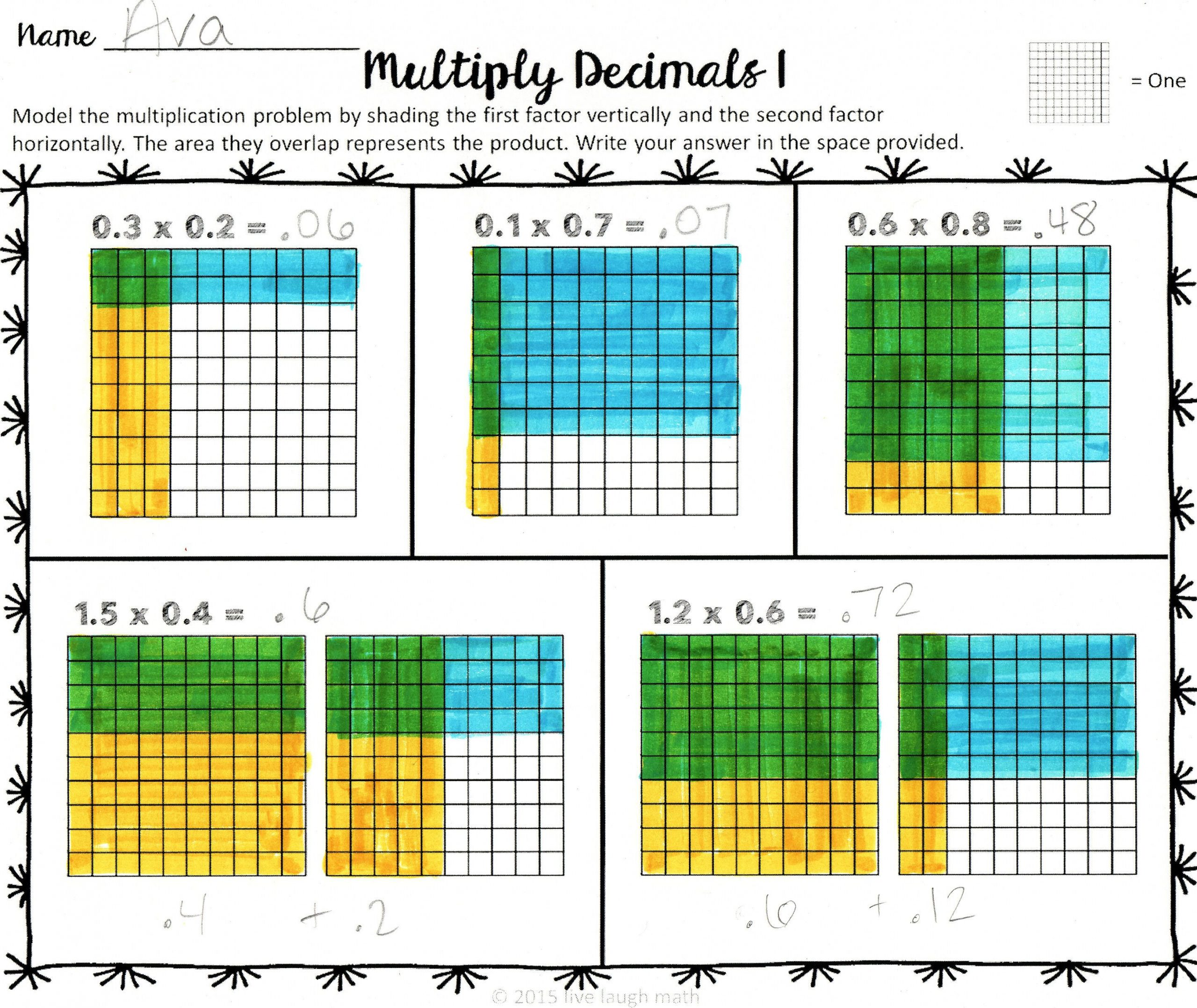 Multiplying Decimals area Model Worksheet Add Subtract Multiply & Divide Decimals Modeling Help