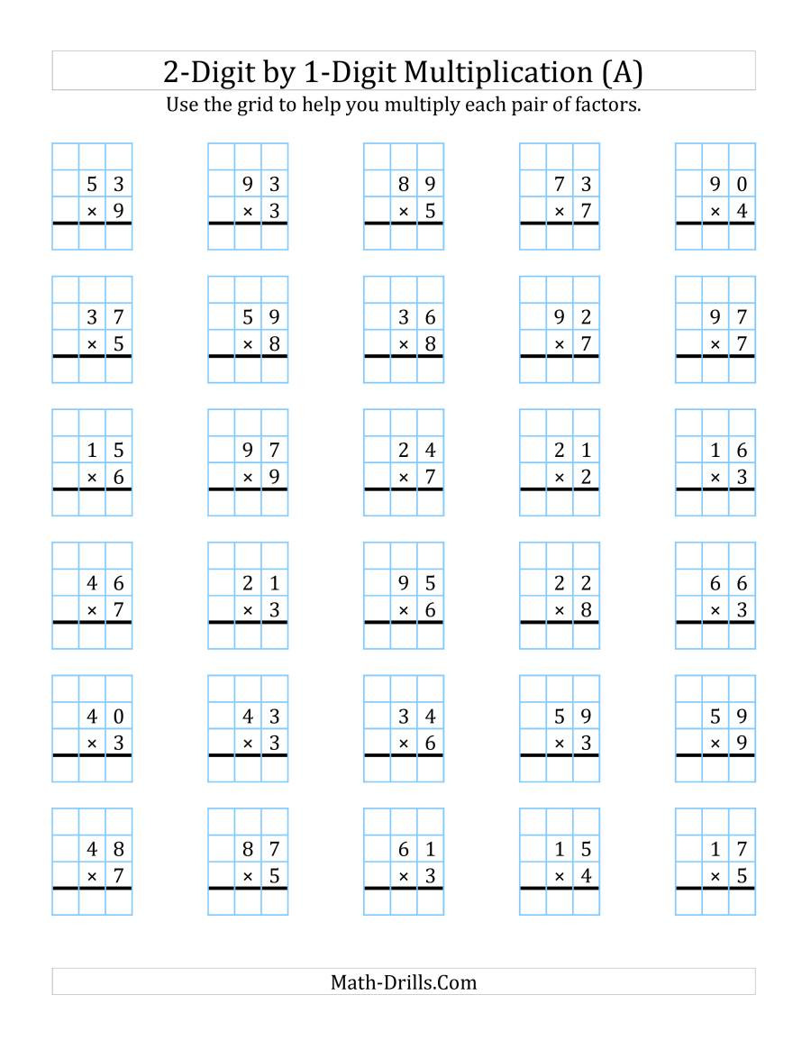 Multiplying Decimals with Grids Worksheets 2 Digit by 1 Digit Multiplication with Grid Support A