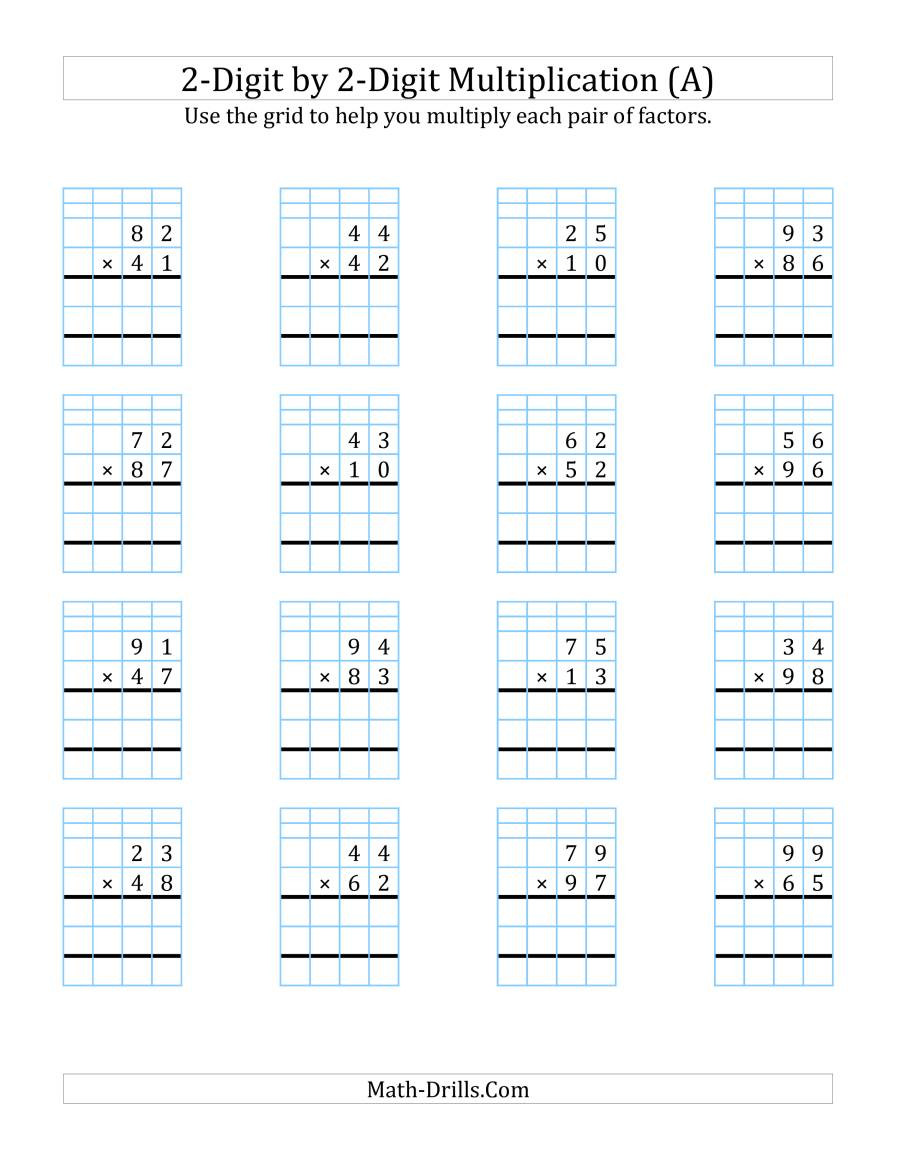 Multiplying Decimals with Grids Worksheets 2 Digit by 2 Digit Multiplication with Grid Support A