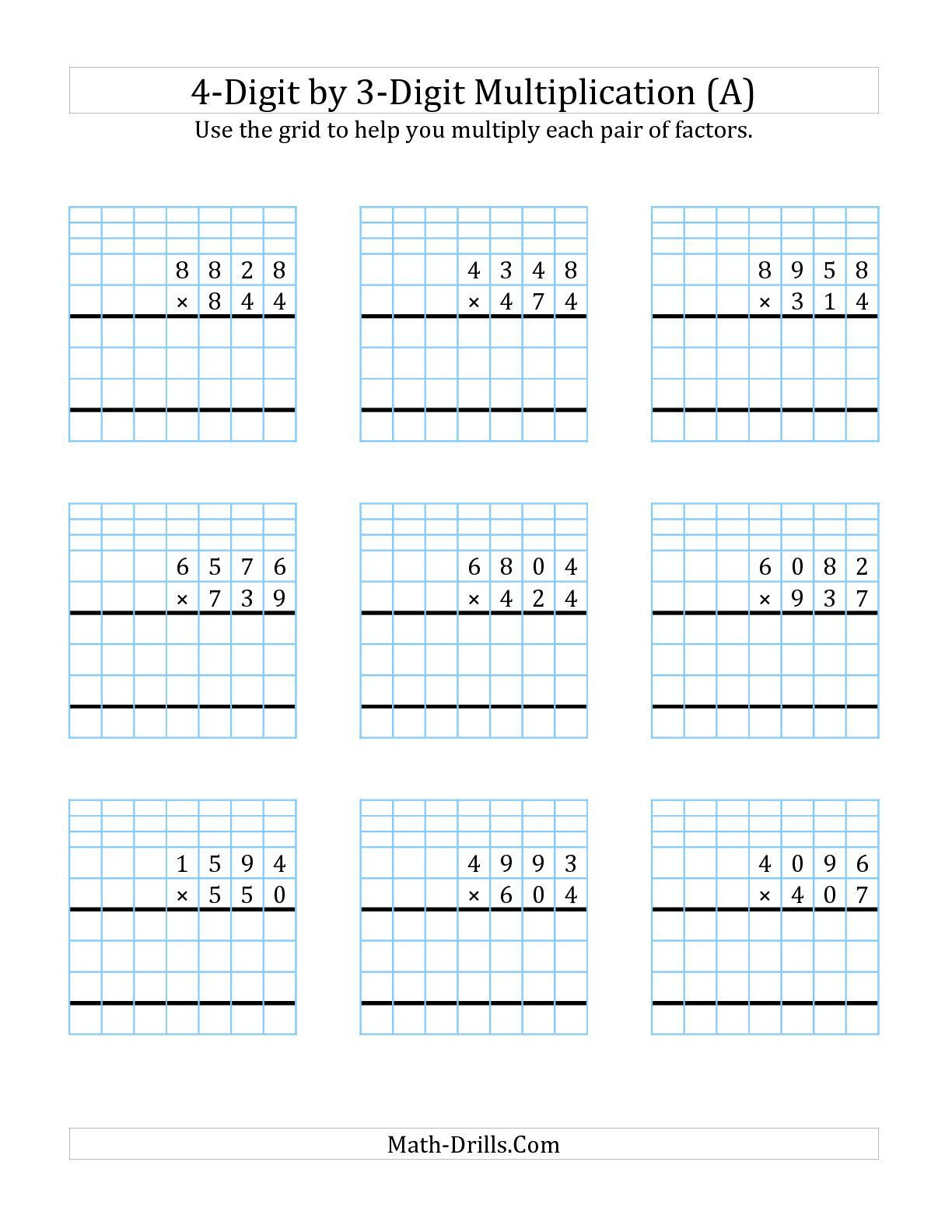 Multiplying Decimals with Grids Worksheets 4 Digit by 2 Digit Multiplication with Grid Support A Long