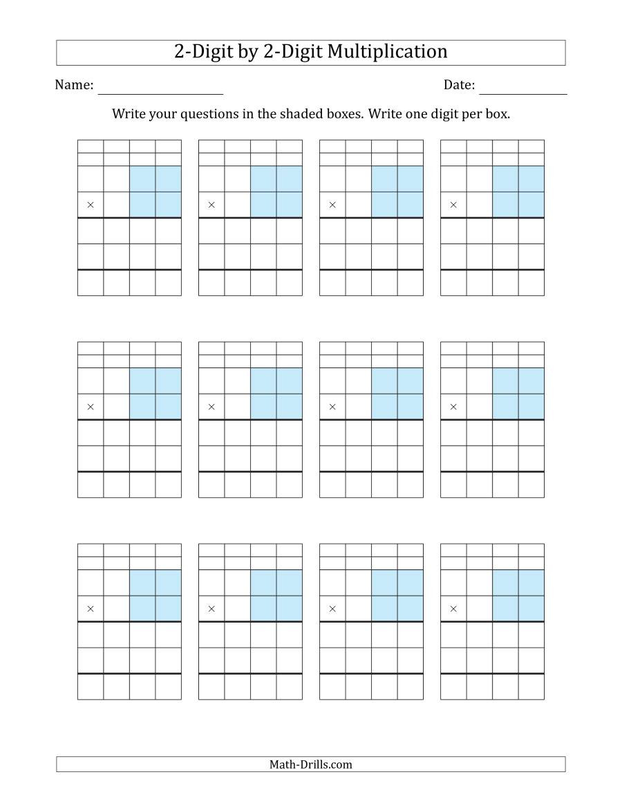 Multiplying Decimals with Grids Worksheets Multiplying 2 Digit by 2 Digit Numbers with Grid Support