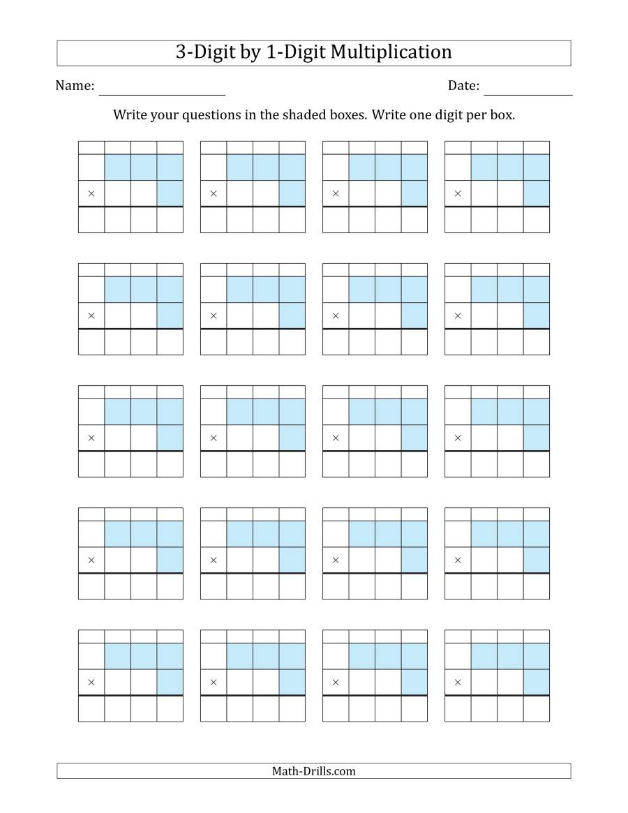 Multiplying Decimals with Grids Worksheets Multiplying 3 Digit by 1 Digit Numbers with Grid Support