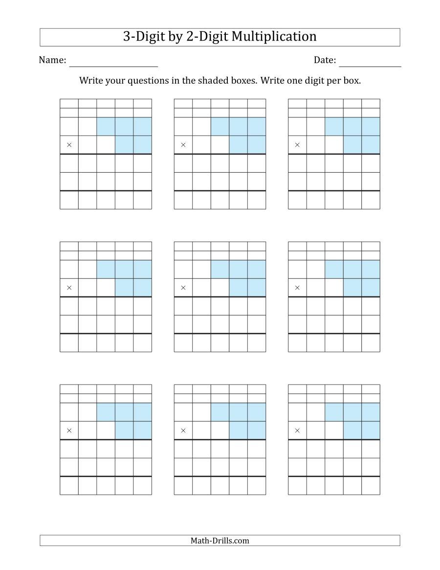 Multiplying Decimals with Grids Worksheets Multiplying 3 Digit by 2 Digit Numbers with Grid Support