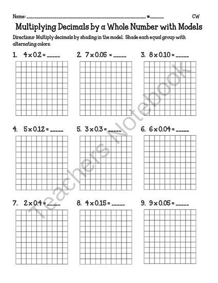 Multiplying Decimals with Grids Worksheets Multiplying Decimals by A whole Number with Models 5 Nbt7