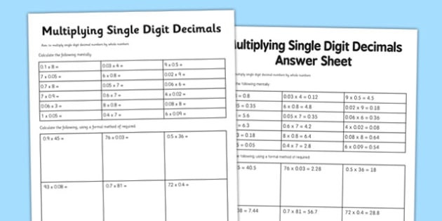 Multiplying Decimals with Grids Worksheets Year 6 Multiply Single Digit Decimals Worksheet
