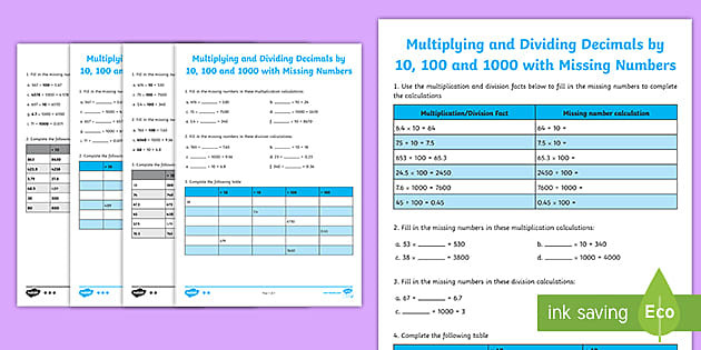 multiplying and dividing decimals by 10 100 1000 with missing numbers activity sheet t2 m 4837