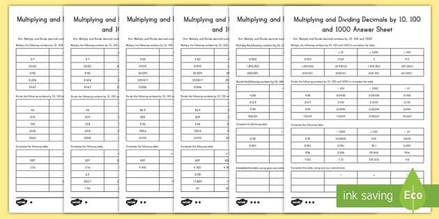 us t2 m 1250 multiplying and dividing decimals by 10 100 and 1000 differentiated activity sheets