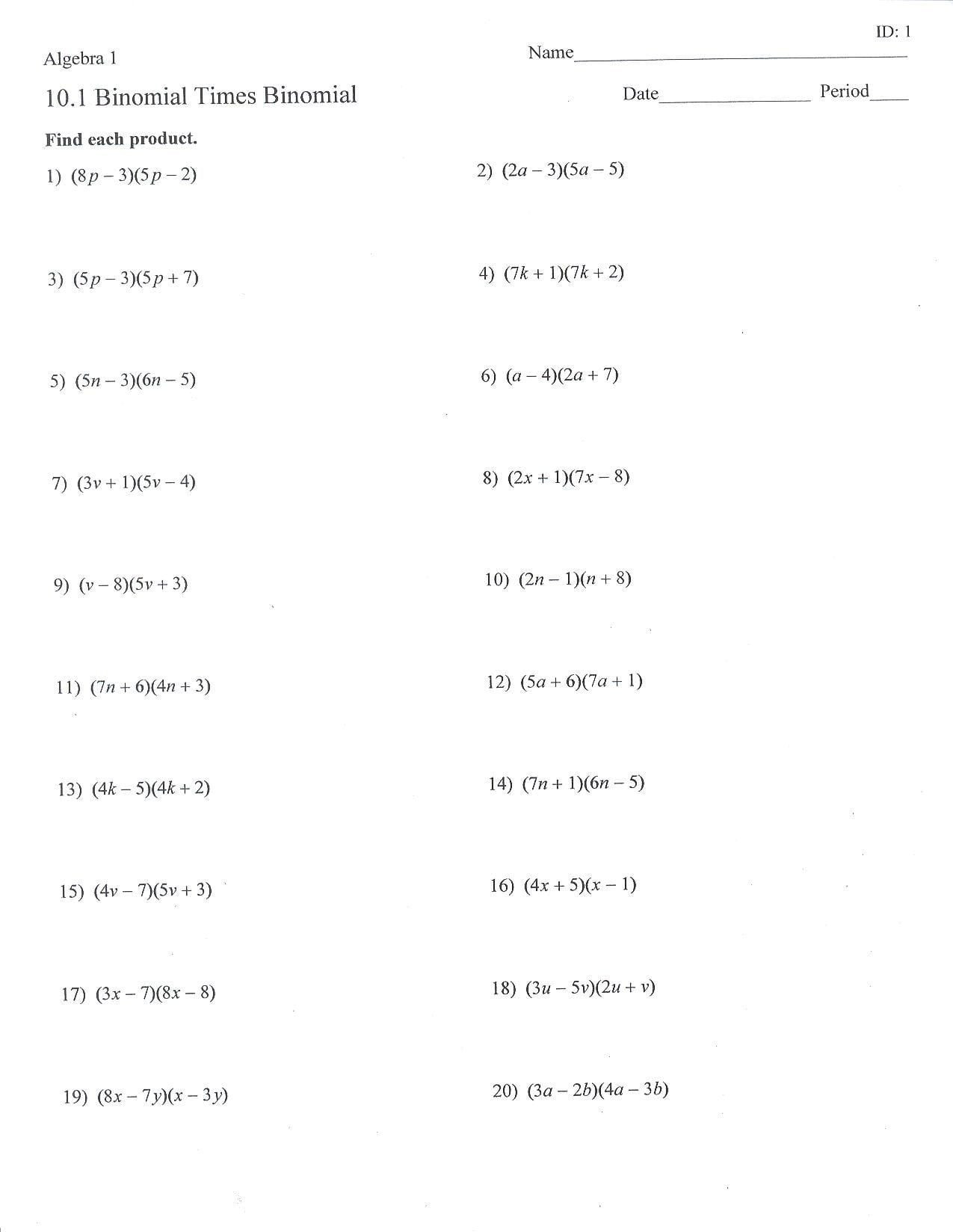 Multiplying Dividing Monomials Worksheet Dividing Polynomials by Monomials Worksheet