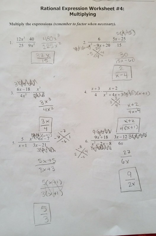 rational expression worksheet 4 multiplying multiply expressions remember factor necessary q