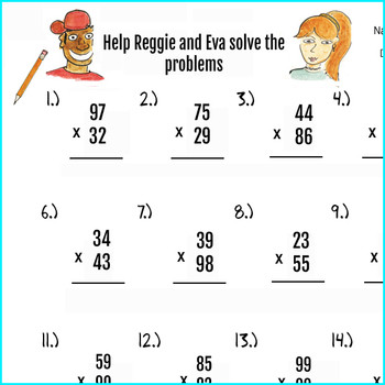 2pgs Double Digit Multiplication Worksheets and Answer key 50 problems