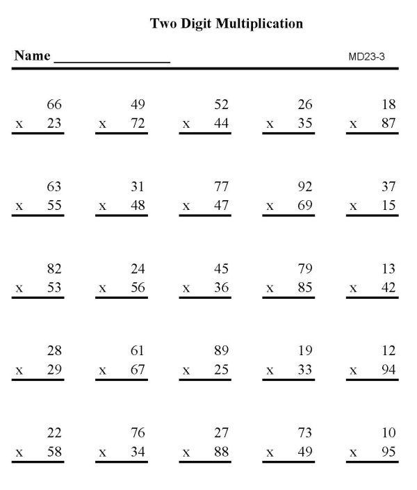 Multiplying Double Digits Worksheet Double Digit Multiplication Practice Sheet